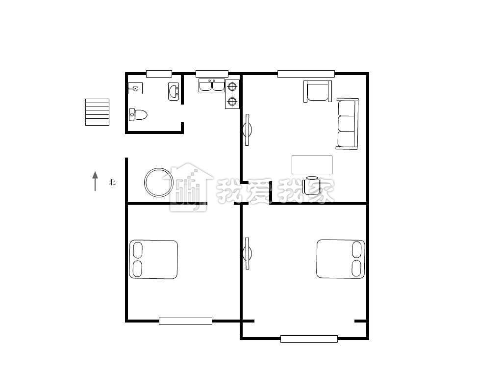 两房朝南 一梯两户 全明户型 精装修