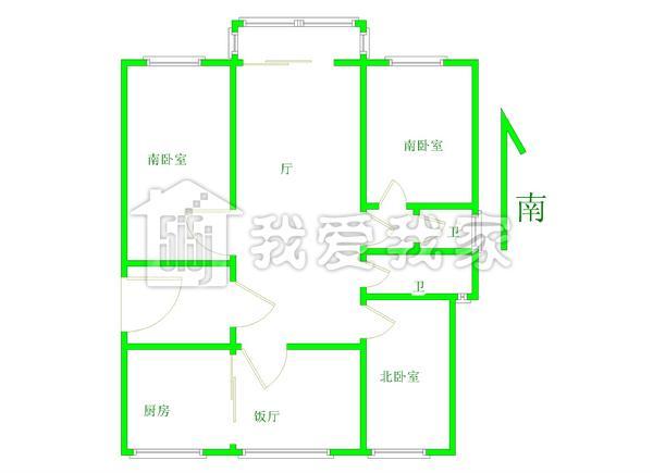 96平方二房一厅设计图展示
