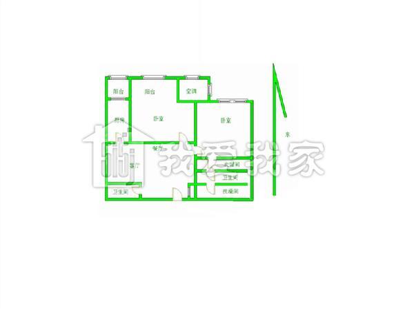 120平方米的长方形房子三房一厅设计图