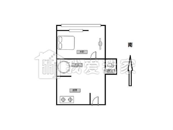 【户型介绍】此房是正规的 一居室,长方形户型,进门口就是开放厨房