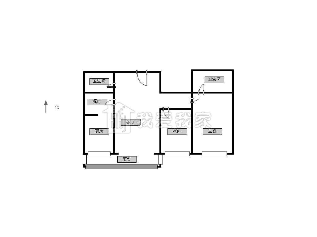 一通间改两室一厅一厨一卫设计图