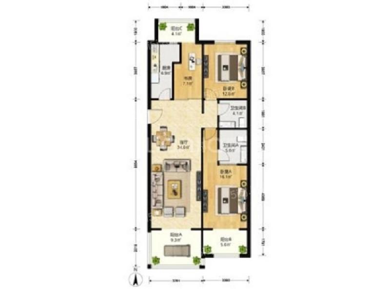 澳林春天六期租房 当前租房   10000 租金(元/月) 2室2厅 户型 108.